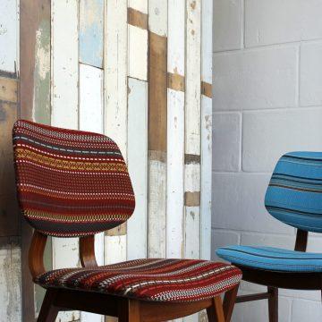 Vintage stoel bekleed met Point van Kvadrat Paul Smith